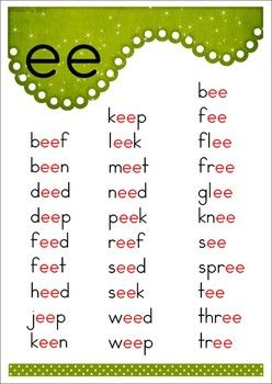 EE Vowel Digraph Games-Activities-Worksheets {84 pages}. A page from the unit: poster
