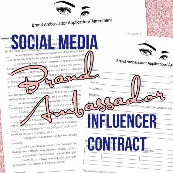 Social Media Brand Ambassador Contract Pdf Digital Document Etsy In 2021 Social Media Branding Brand Ambassador Brand Ambassador Contract