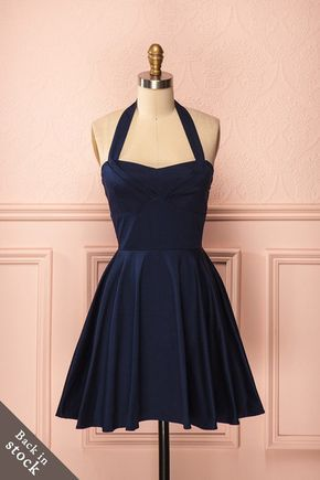 Bedelia - Navy blue A-line circle skirt halter dress