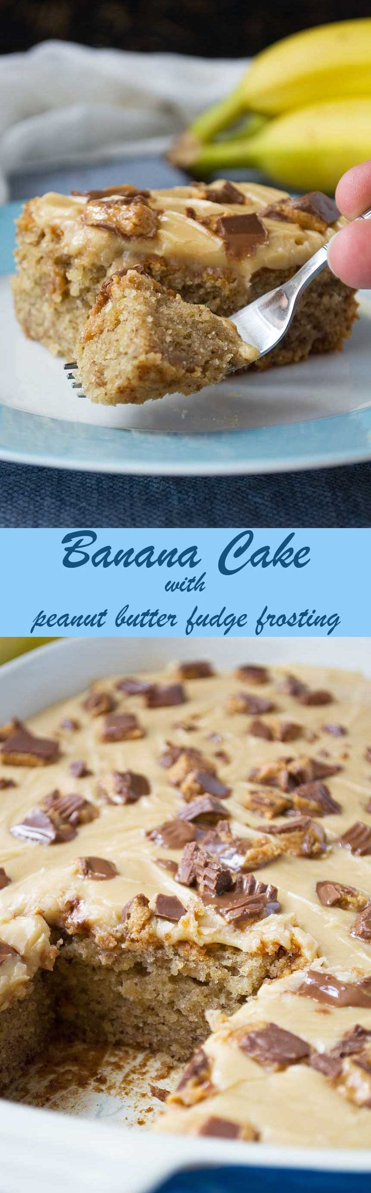 Banana sheet cake with peanut butter fudge frosting