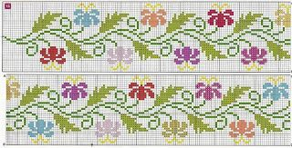 Artesanato em crochê e ponto cruz: Gráfico de barrinha de flores coloridas em ponto c...