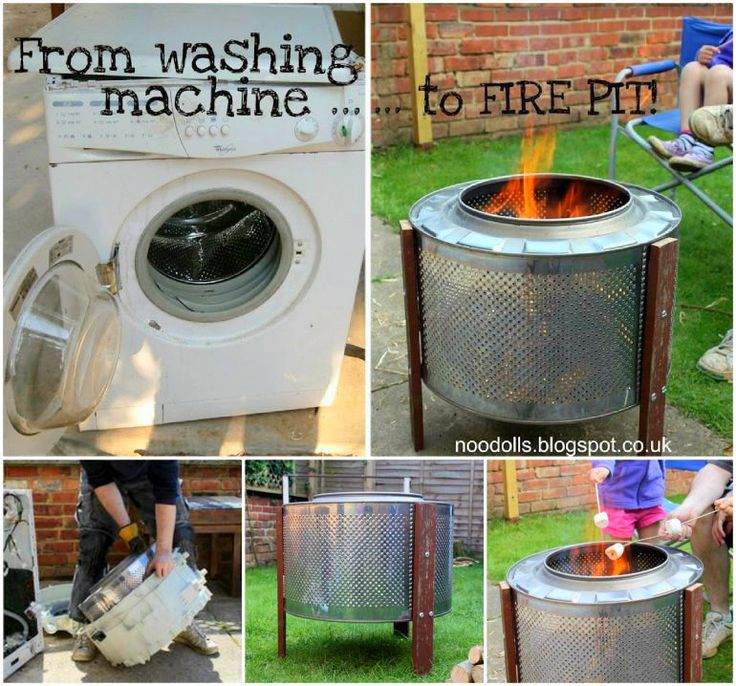 Washing Machine Drum Fire Pit, this is a genius idea.  Recycling at it's best.