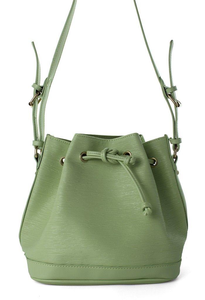 Mint Drawstring Bucket Bag