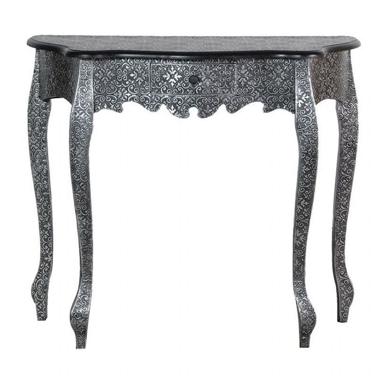 Metal Antique Silver Embossed Small Hall Console Table Shabby Chic