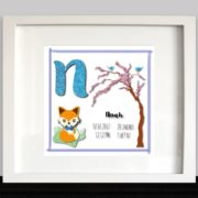 An unique gift for a newborn baby girl or boy to decorate the nursery with a personalized print of blue or pink baby owls.