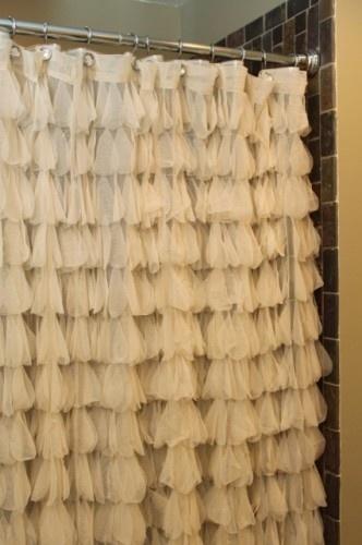 Ruffle shower curtain, so cute!!!