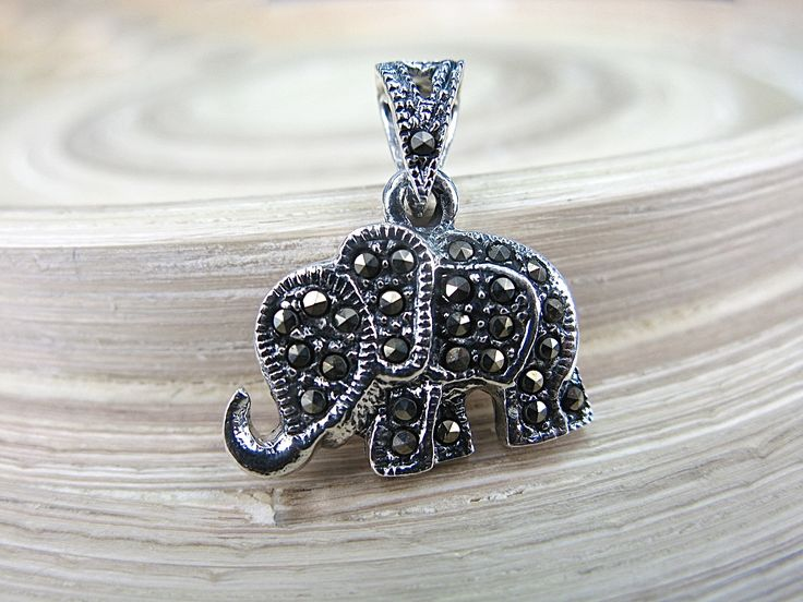 Elephant Marcasite 925 Sterling Silver Pendant