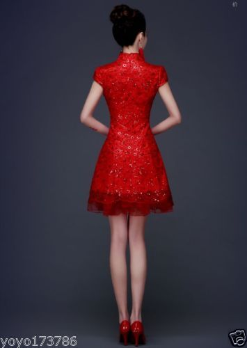 Chinese-Cheongsam-Evening-Prom-Party-Wedding-Bride-Bridesmaid-Dress-Short-Gown