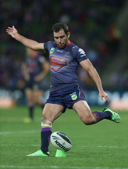 Cameron Smith of the Storm kicks a conversion during the round 13 NRL match between the Melbourne Storm and the Cronulla Sharks at AAMI Park on June 9, 2013 in Melbourne, Australia. https://footyboys.com
