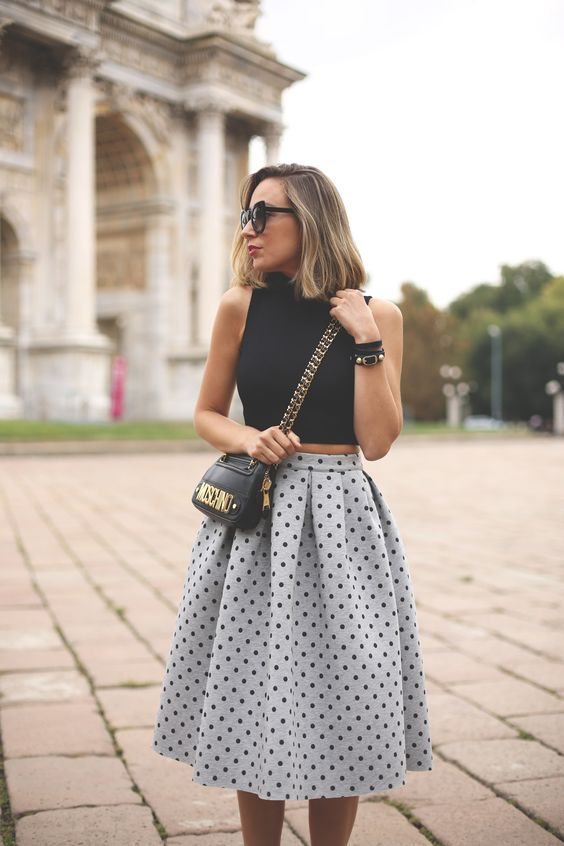 @roressclothes closet ideas #women fashion outfit #clothing style apparel Black Crop Top and Polka Dot Skirt