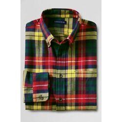 Lands End Mens Regular Long Sleeve Flannel Shirt
