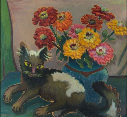 Maggie Laubser: Still Life with Cat and Flowers, 1936, 56 x 62 cm, oil on board © The Estate of Maggie