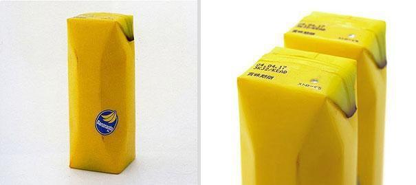 упаковка сока в виде банана