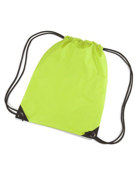 Lime groene gymtasjes  Nylon gymtas in het lime van waterafstotende stof en reigkoord. Inhoud: 12 liter. Afmeting: 45 x 34 cm.  EUR 3.50  Meer informatie