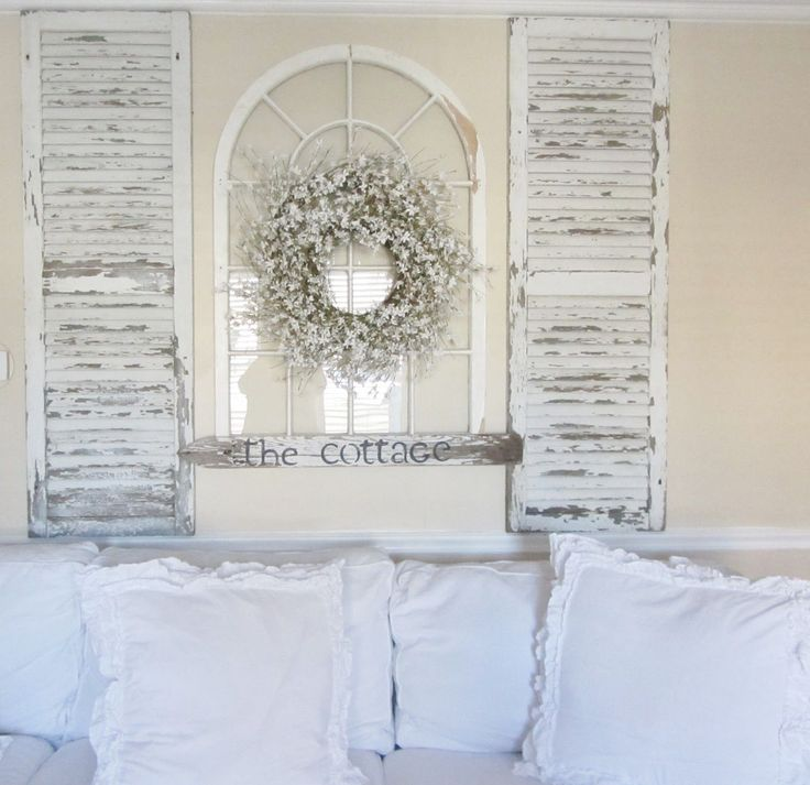 Decorating With Old Shutters | Taking old shutters and an old arch window for a focal point over the ...