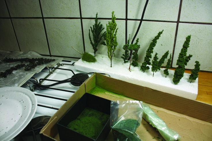 Homemade trees from plant parts dipped in glue for elasticity
