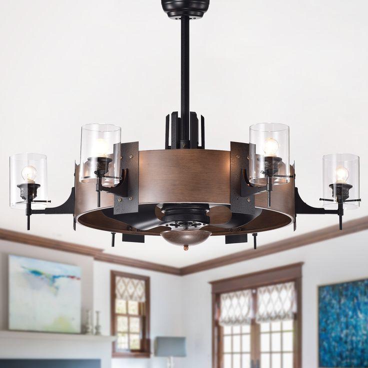 Lodgin Faux Wood 35 Inch 6 Light Lighted Ceiling Fan