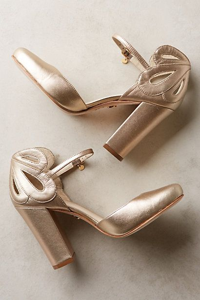 Gorgeous gold heels that won't kill your back! #anthrofave http://rstyle.me/n/ud47znyg6