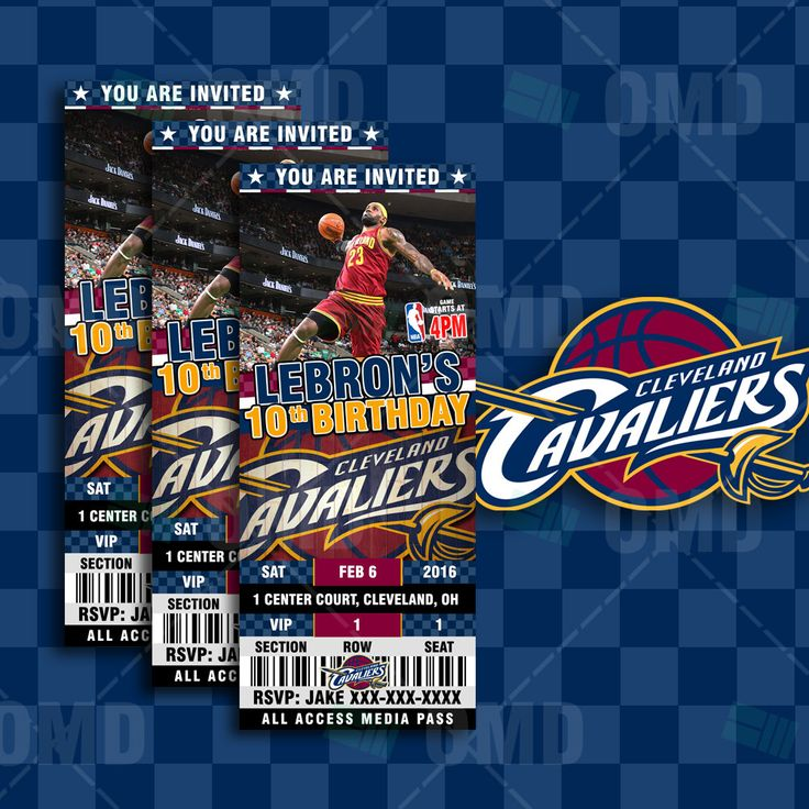 "Cleveland Cavaliers Sports Party Invitation, 2.5x6"" Sports Tickets Invites, Basketball Birthday Theme Party by sportsinvites"