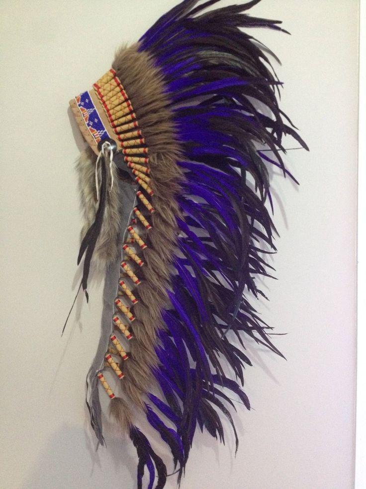 Indian Headdress Feather War Bonnet Purple