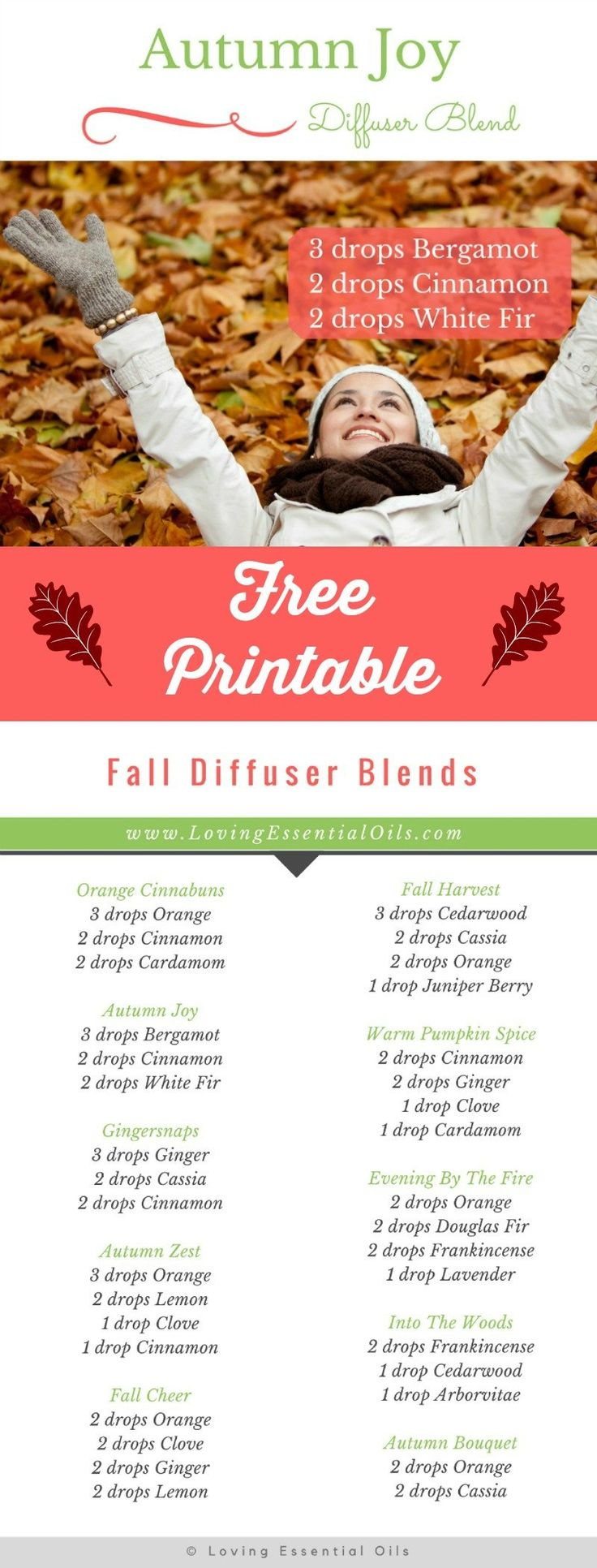 {Free Printable} Fall Diffuser Blends for Essential Oils. Click to get your instant download. #freeprintable #diffuser #essentialoils