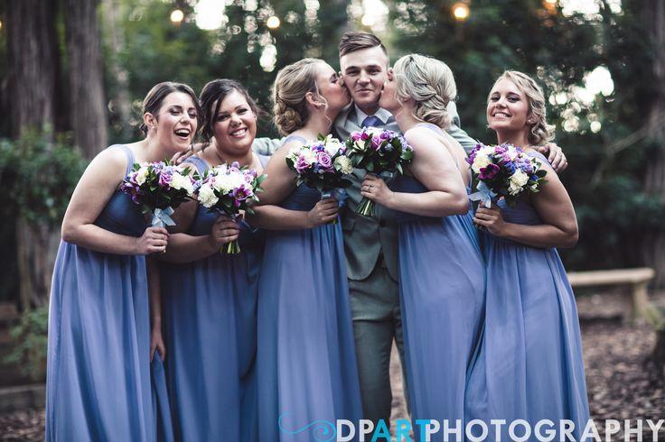 Bridesmaids Bouquet, Lilac flowers, purple roses, tulips, freesias. Allegro Weddings