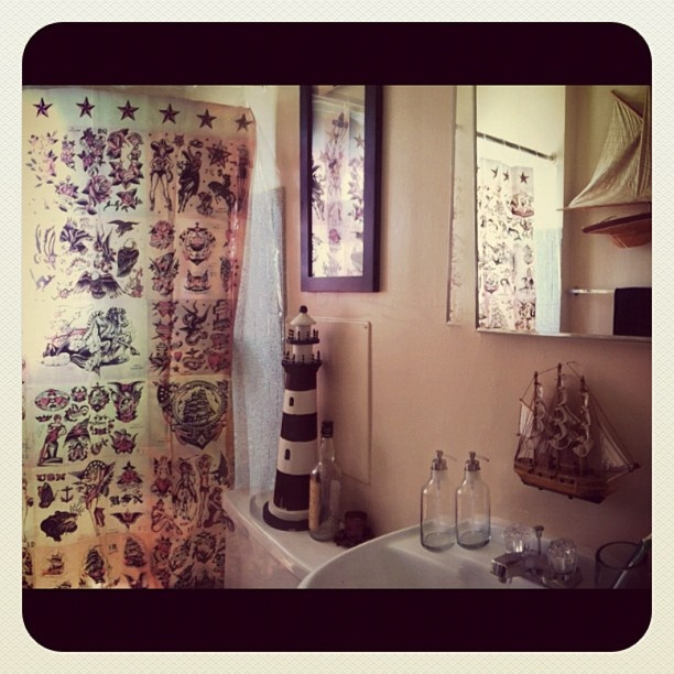 Sailor Themed Bathroom: Sailor Jerry Themed Bathroom Decor. Shower Curtain