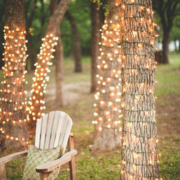 Des guirlandes lumineuses dans les arbres