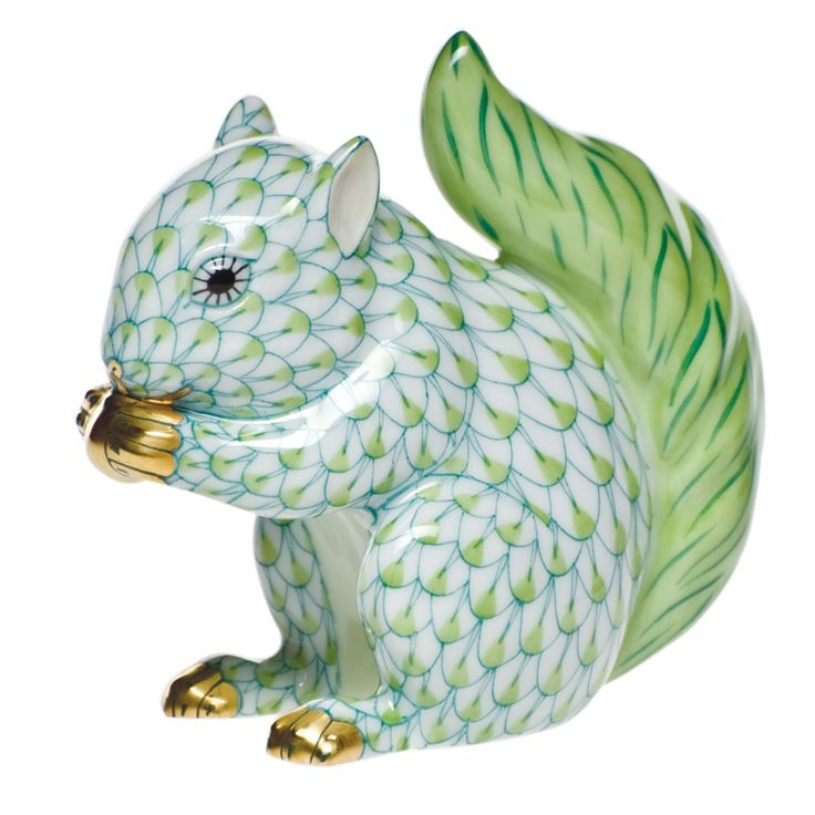 Baby Squirrel Eating Nut Herend Hand Painted Porcelain Figurine in Key Lime Fishnet w Gold Accents.