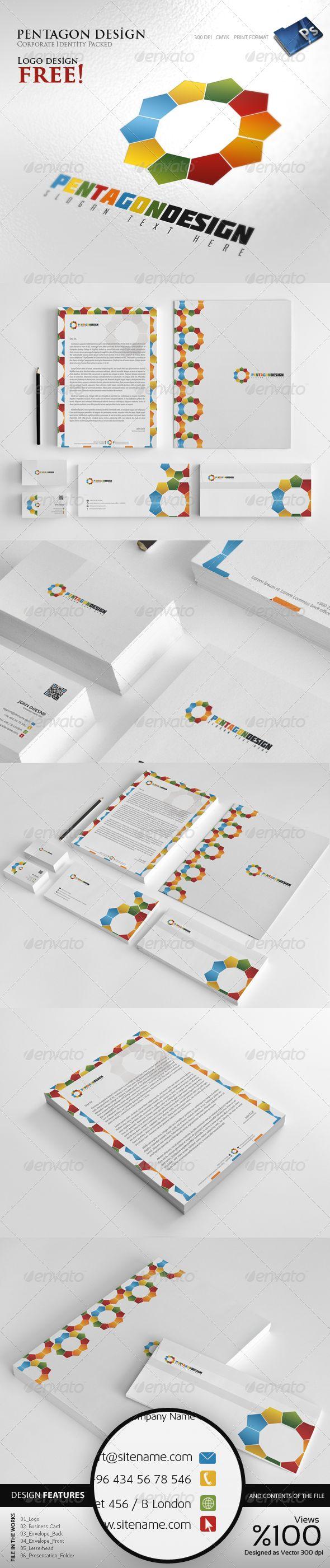 #Pentagon #Design - #Corporate #identity - #Stationery #Print #Templates Downloa...