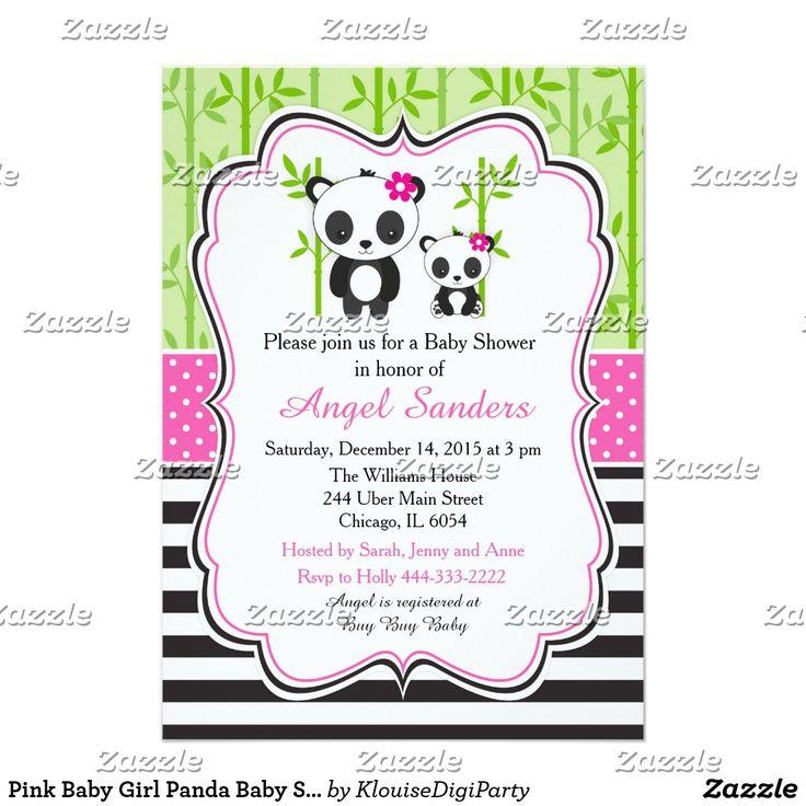 Pink Baby Girl Panda Baby Shower Card