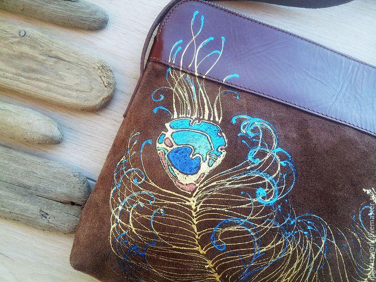 """Купить Cумочка """"Небесные глаза"""". Ручная роспись. Натуральная кожа. - сумка, сумка из натуральной кожи"""