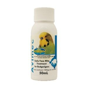 Avimec - A topical 'drop on' liquid for the treatment of Scaly Face Mite (Knemidokoptes pilae) in budgerigars.