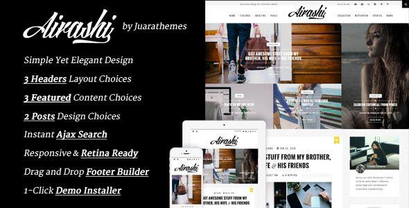 Airashi | Clean Personal WordPress Blog Theme  #blog #design #webdesign #personal #girlblog #fashionblog #theme #WordPress #web #design