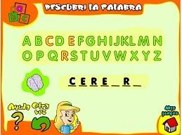"""Varios juegos sobre el cuerpo.  Por ejemplo - """"Descubre la palabra"""" - juego con palabras del cuerpo. En español."""