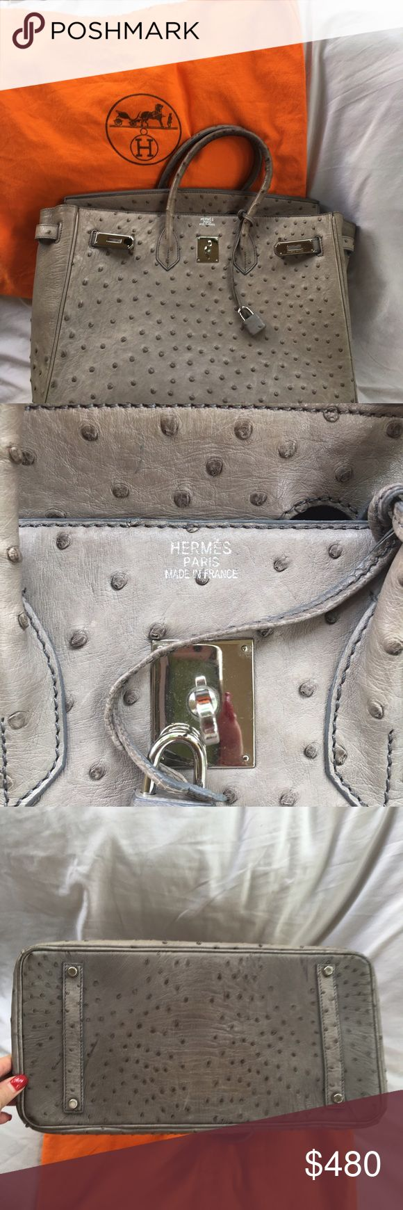 Hermes ostrich bag Real ostrich gray birken bag. It's a fabulous replica and was given to me by a wealthy women who sometimes carried fake bags that look exactly like the real deal. Regardless..it's real ostrich and is worth every penny. To heavy for me to carry Hermes Bags Satchels