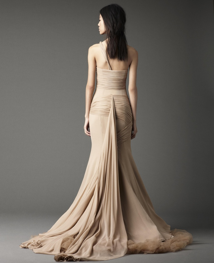 Vera Wang back view of the one shoulder wedding dress