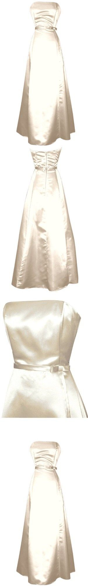 50s Strapless Satin Long Bridesmaid Prom Dress Formal Junior Plus Size, XL, Ivory