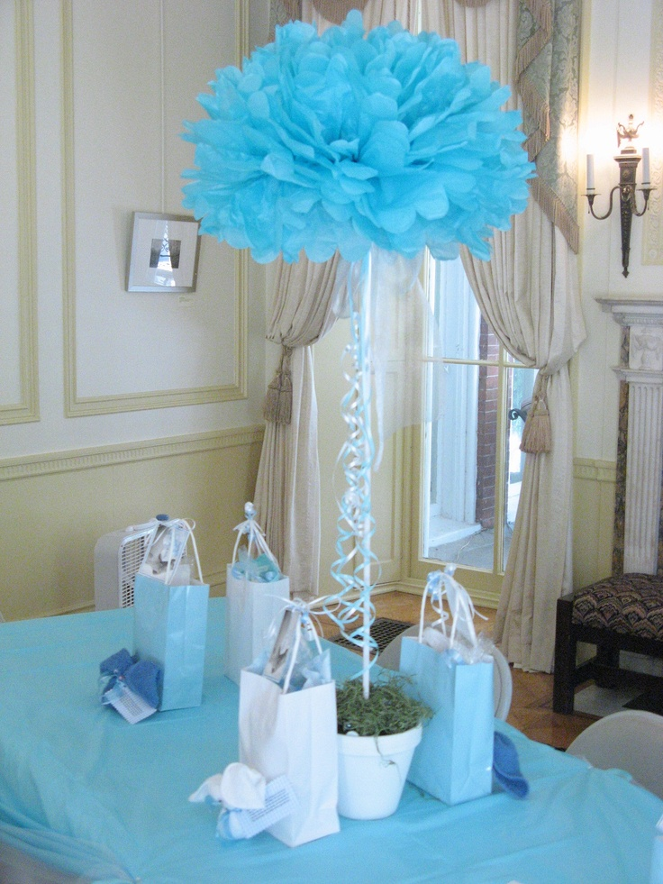 baby shower centerpiece topiary tissue flower stuck into 1 2 rd of florist s foam dowel goes