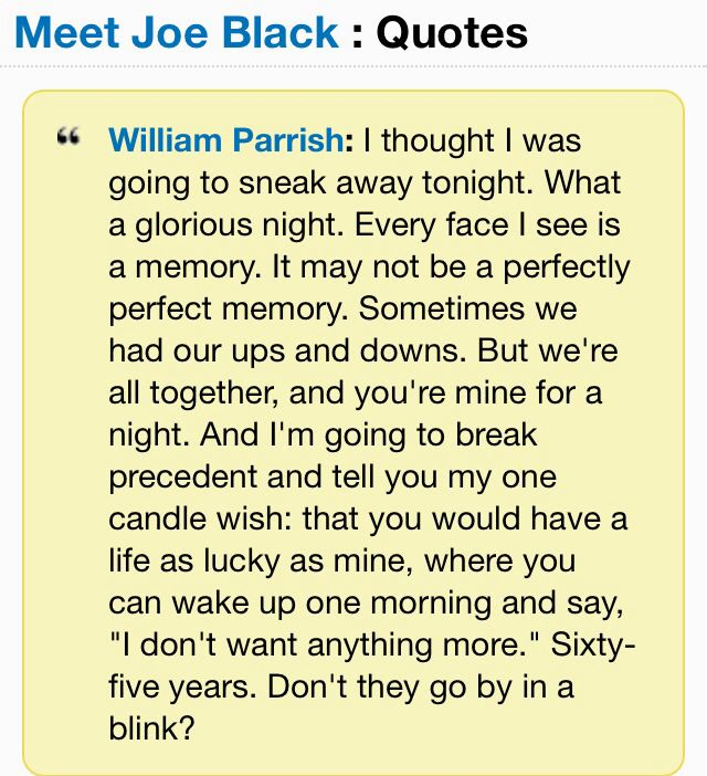 meet joe black quote