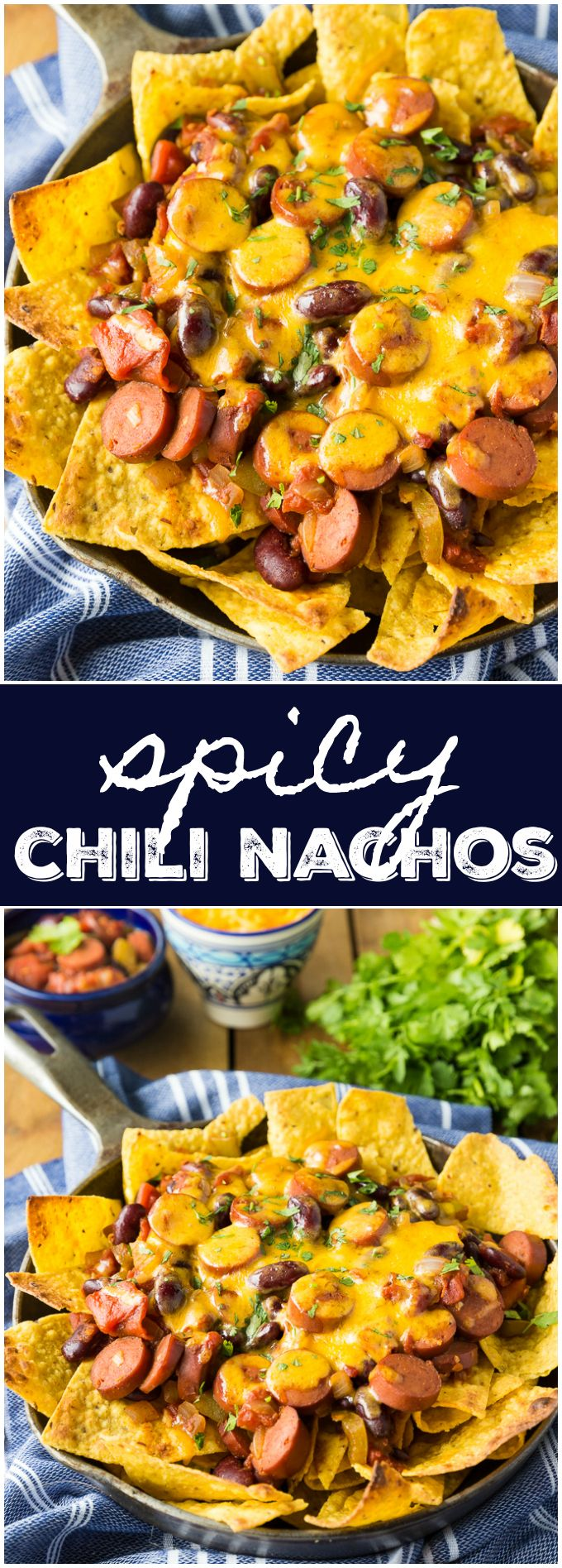 Spicy Chili Nachos - Perfect for entertaining! This easy recipe is packed full of fiery flavour.