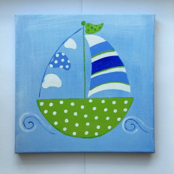 Boat canvas painting 30cm X 30cm shades of blue by SOLOKIDSDECOR