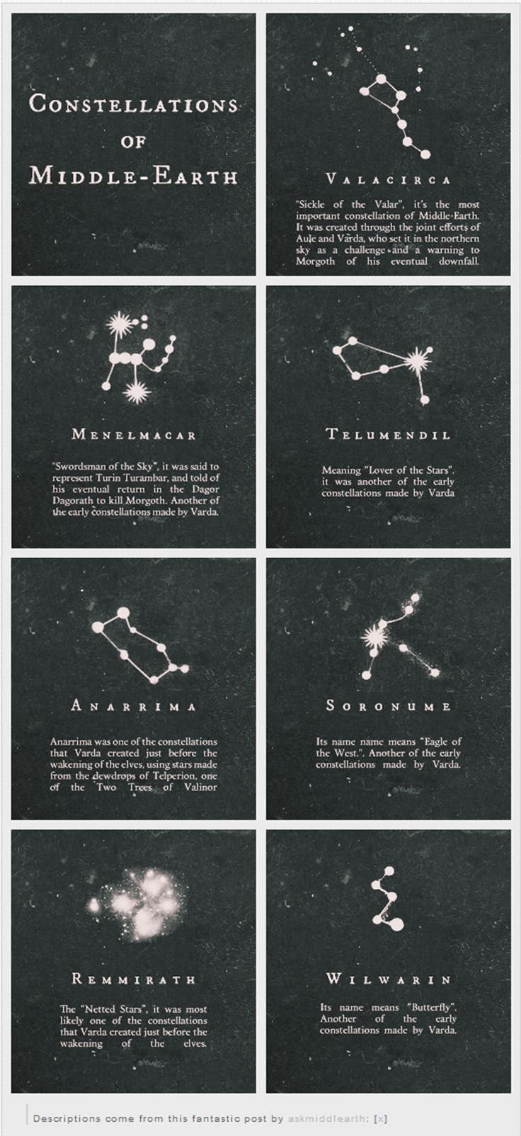"""Constellations of Middle Earth"" - Sauce: http://askmiddlearth.tumblr.com/post/56780916166/constellations-of-middle-earth"