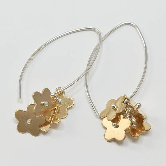 Cloverleaf Jewelry At Etsy Glory Flower Earrings Dangle Silver And Gold Long Tel Flowerearrings Beadedearrings