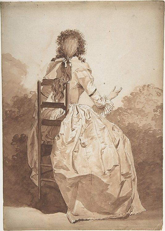 Seated Woman, Seen from Behind, Anonymous, French, ca. 1790-95