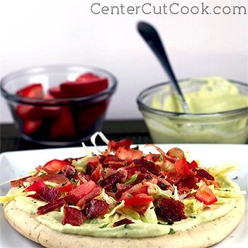 Bacon, lettuce, and tomato flatbreads are taken to another level with the addition of smooth, creamy Avocado Spread! http://centercutcook.com/blt-flatbreads-with-avocado-spread/