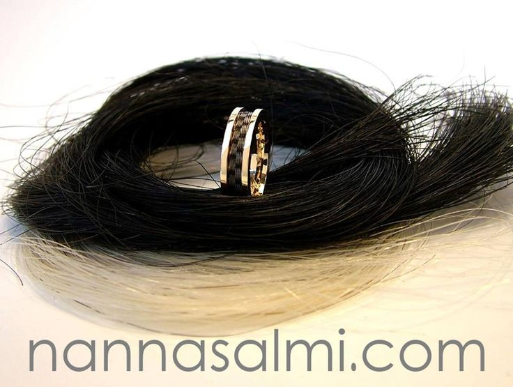 Horsehair ring Amate, gold, ribbon 'check' Woven horsehair ribbon - http://nannasalmi.com/collections/rings/