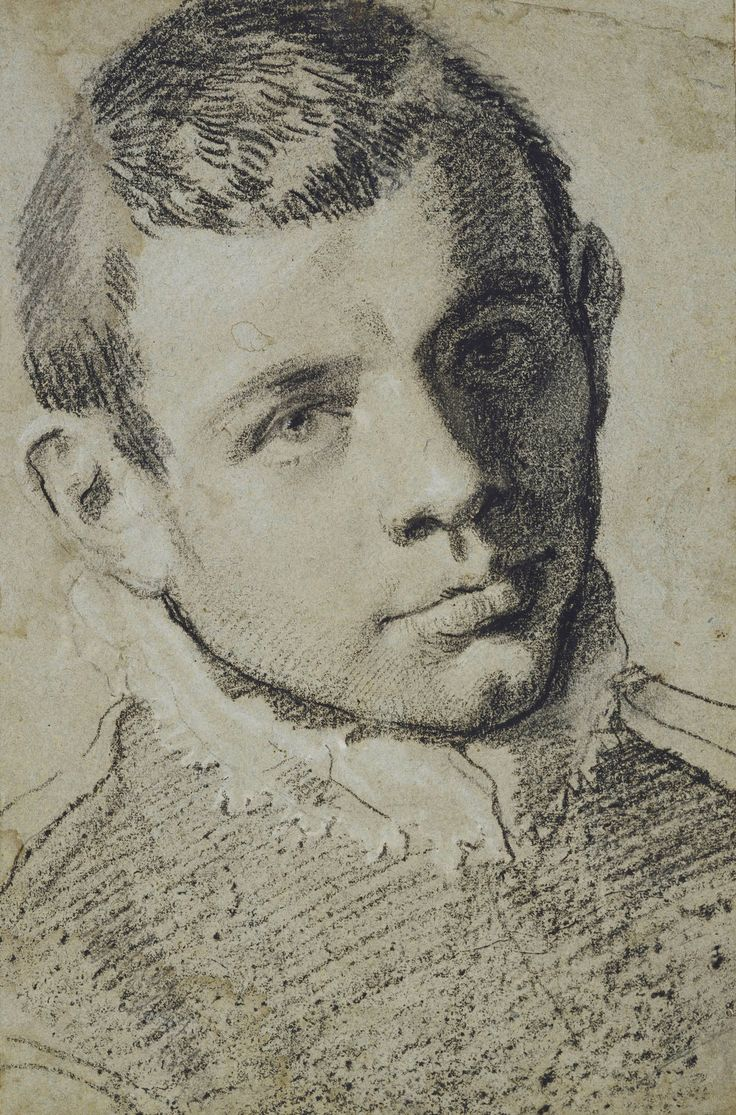 Annibale Carracci (1560-1609), A presumed self-portrait, c.1585/90, Black chalk, heightened with white, on grey-green paper, 38x 25cm | Royal Collection Trust