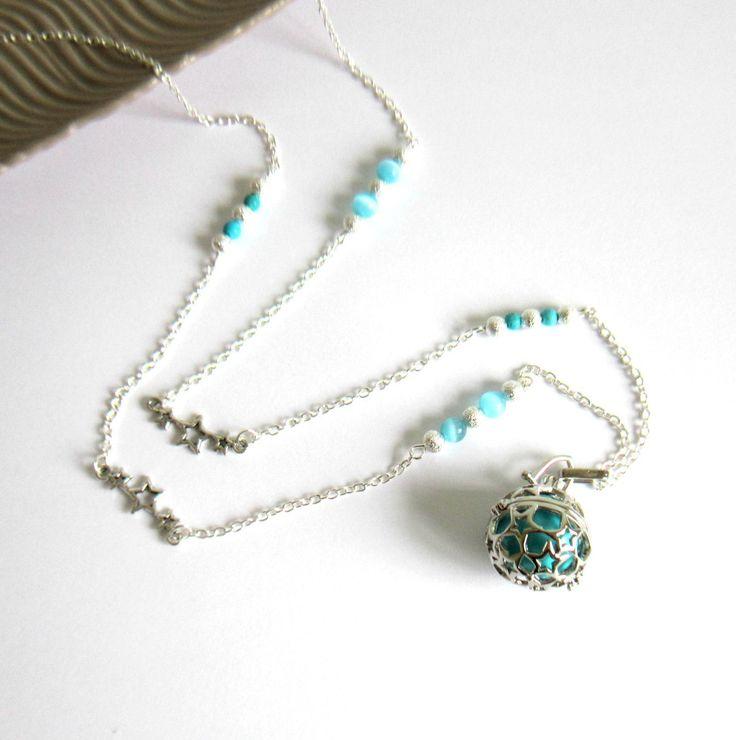 Bola de grossesse bleu turquoise argenté, cadeau femme enceinte, étoiles, stardust, Turquoise, verre œil de chat : Collier par color-life-bijoux