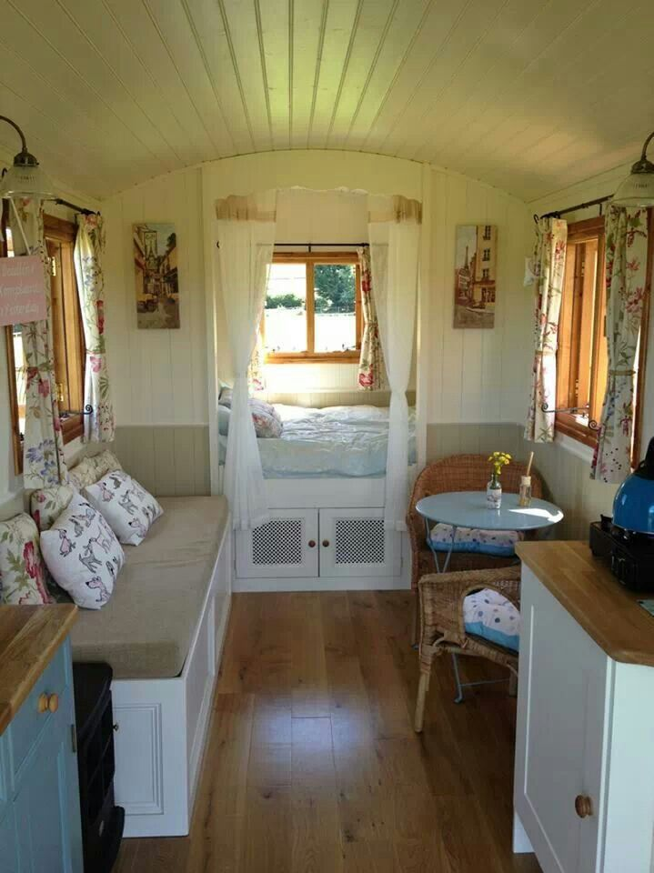 Gypsy wagon interior.  Small house home tiny cottages cabin